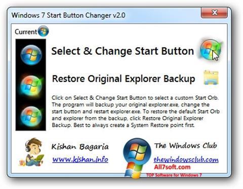Screenshot Windows 7 Start Button Changer per Windows 7