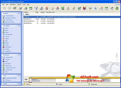 Screenshot Acronis Partition Magic per Windows 7