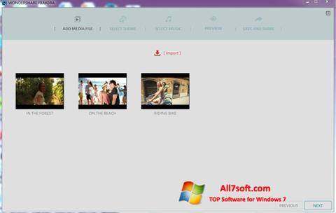 Screenshot Wondershare Filmora per Windows 7